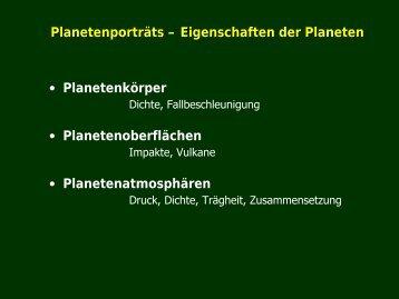 Planetenporträts - Eigenschaften der Planeten