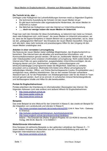 Lehrplan und Neue Medien - Lehrerfortbildungsserver Baden ...