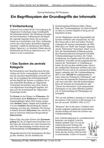 Ein Begriffssystem der Grundbegriffe der Informatik