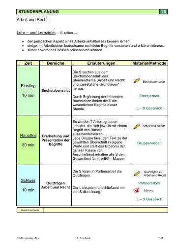 25. Stundenbild der BO-Mappe 8. Schulstufe - Freie Lehrmittel
