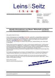 Steuervereinfachungsgesetz 2011 - Leins & Seitz
