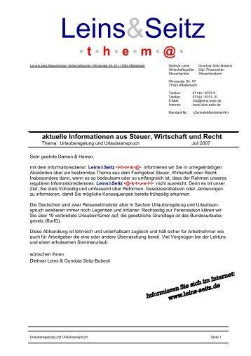 Urlaubsregelung und Urlaubsanspruch - Leins & Seitz