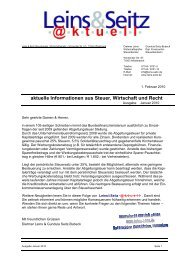 aktuelle Informationen aus Steuer, Wirtschaft und Recht - Leins & Seitz