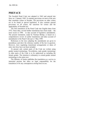 Swedish Penal Code - Legislationline
