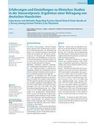 Erfahrungen und Einstellungen zu Klinischen Studien in der ...