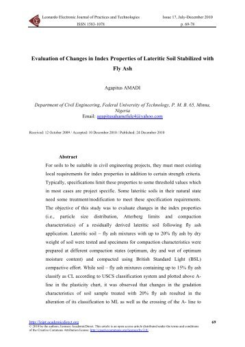 Evaluation of Changes in Index Properties of Lateritic Soil Stabilized ...