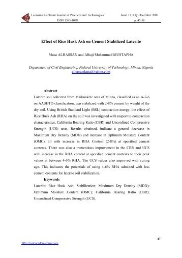 Effect of Rice Husk Ash on Cement Stabilized Laterite from ...
