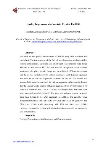 Quality Improvement of an Acid Treated Fuel Oil from Leonardo El J ...