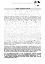 Frieden mit/ohne Grenzen - Arbeitsgemeinschaft für Friedens- und ...