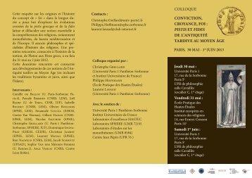 Flyer - Laboratoire d'Etudes sur les Monothéismes - CNRS