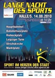 Werbekarte zur Sportnacht Halle - Lange Nacht des Sports