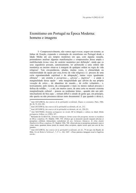 Eremitismo em Portugal na época Moderna : homens e imagens ...