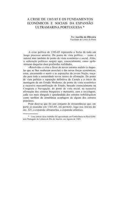 A crise de 1383/85 e os fundamentos económicos e sociais da ...