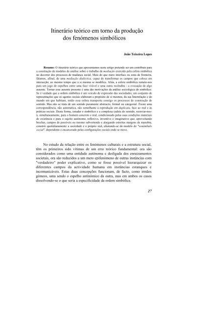 Itinerário teórico em torno da produção dos fenómenos simbólicos