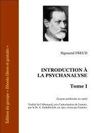 INTRODUCTION À LA PSYCHANALYSE – Tome I