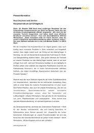 Presseinformation Koopmanndruck auf Erfolgskurs
