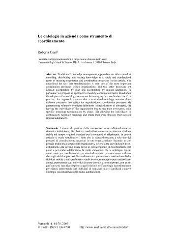 Le ontologie in azienda come strumento di coordinamento - Swif
