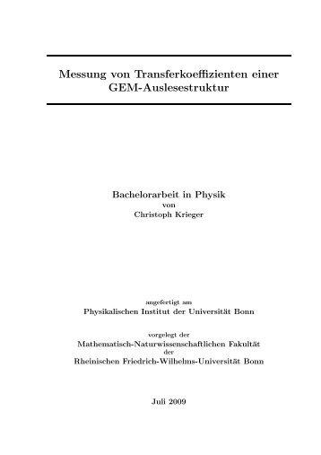 Messung von Transferkoeffizienten einer GEM-Auslesestruktur