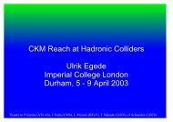 CKM Reach at Hadronic Colliders Ulrik Egede Imperial ... - LHCb