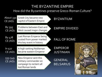 THE BYZANTINE EMPIRE - Loganville High School