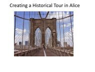 Creating a Historical Tour in Alice