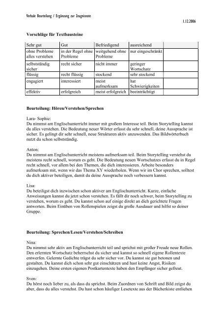 Textbausteine Zeugnis Englisch Grundschule