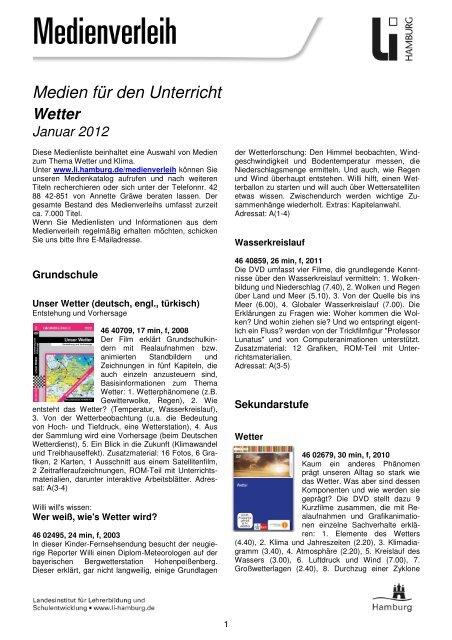 Medienliste Wetter Januar 2012 Hamburg