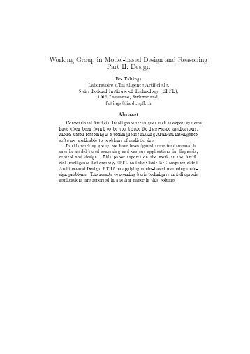 Working Group in Model-based Design and Reasoning - Artificial ...