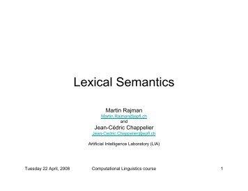 Lexical semantics (1) - Artificial Intelligence Laboratory - EPFL