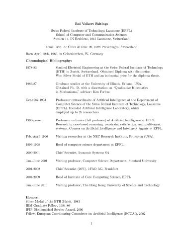 Curriculum Vitae - Artificial Intelligence Laboratory - EPFL