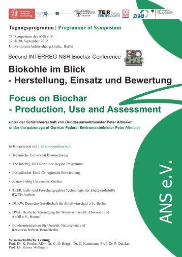 Biokohle im Blick - Herstellung, Einsatz und Bewertung ... - ANS ev