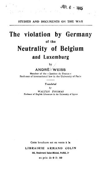 The violation by Germany Neutrality of Belgium