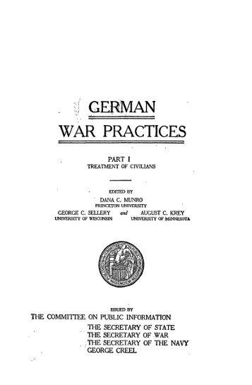 a GERMAN WAR PRACTICES