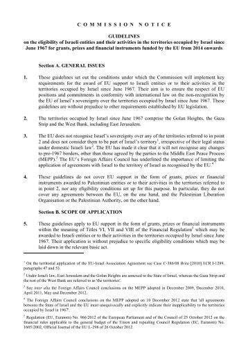 EU BESCHLUSS zum Boykott israelischer Siedlunegen 18.7.2013