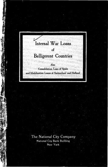Internal War Loans Belligerent Countries