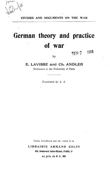 German theory and practice of war