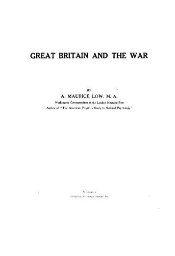 GREAT BRITAIN AND THE WAR