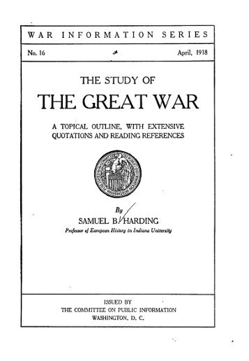 the great war the sidney bradshaw fay thesis answers