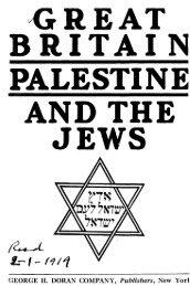 Great Britain, Palestine and the Jews