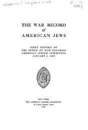 THE WAR RECORD of AMERICAN JEWS