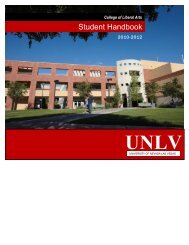 Student Handbook - College of Liberal Arts - University of Nevada ...
