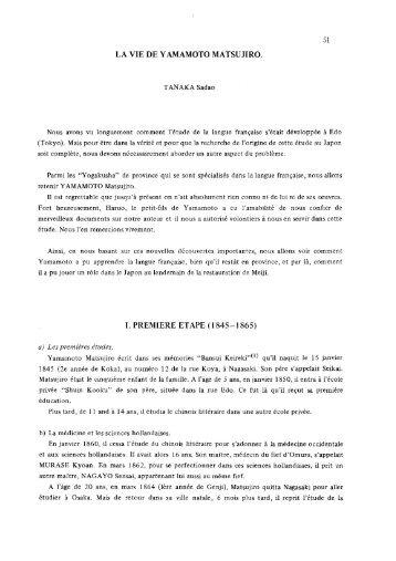 I. PREMIERE ETAPE (1845-1865) a) Les premieres etudes ...
