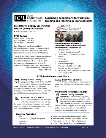 BTOP Update: Spring 2012 - Idaho Commission for Libraries - Idaho ...
