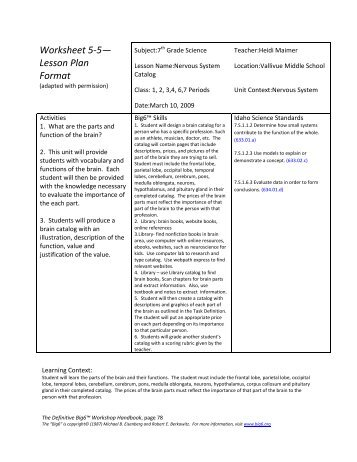 Activity 15: Lesson Plan for Rules Worksheet