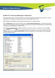 EndNote X3 - Producing a Bibliography or Reading List - Library