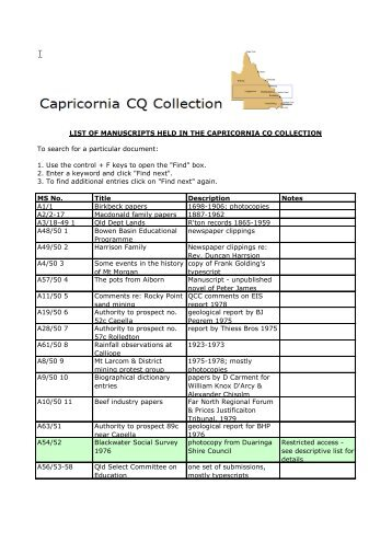 list of manuscripts held in the capricornia cq - Library