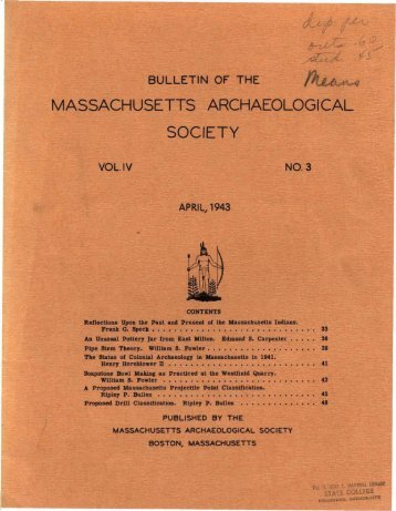 Bulletin of the Massachusetts Archaeological Society, Vol. 4, No. 3 ...