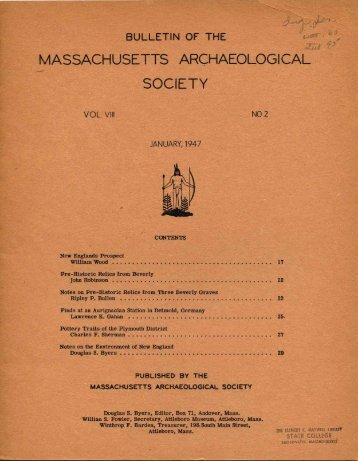 Bulletin of the Massachusetts Archaeological Society, Vol. 8, No. 2 ...