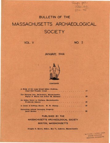 Bulletin of the Massachusetts Archaeological Society, Vol. 5, No. 2 ...