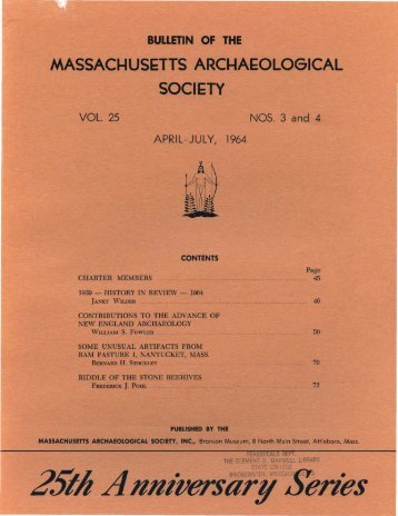Bulletin of the Massachusetts Archaeological Society, Vol. 25, No. 3 ...
